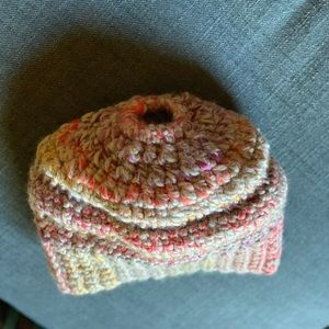 Accessories - Hand Crocheted Wool Hat w/Messy Bun/Ponytail Hole